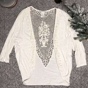 American Rag Slouch Cardigan with Crochet Detail